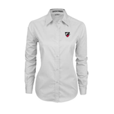 Ladies White Twill Button Down Long Sleeve-Shield