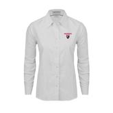Ladies White Oxford Shirt-Official Logo
