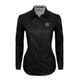 Ladies Black Twill Button Down Long Sleeve-Shield