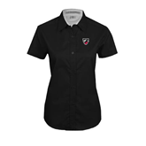 Ladies Black Twill Button Up Short Sleeve-Shield