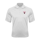 White Textured Saddle Shoulder Polo-Official Logo