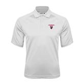 White Textured Saddle Shoulder Polo-Official Logo