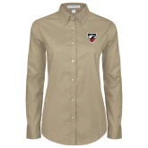 Ladies Khaki Twill Button Down Long Sleeve-Shield