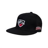 Black OttoFlex Flat Bill Pro Style Hat-Shield