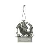 Pewter Sleigh Ornament-Arched Edgewood College Engraved