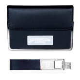 Business Card Case and Key Ring Set Black-Arched Edgewood College Engraved