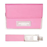 Business Card Case and Key Ring Set Pink-Arched Edgewood College Engraved