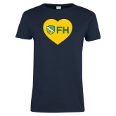 Ladies Navy T Shirt-Sweetheart Shield