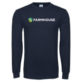 Navy Long Sleeve T Shirt-Farmhouse Shield