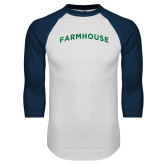White/Navy Raglan Baseball T Shirt-Arched Farmhouse