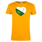 Ladies Gold T Shirt-Sweetheart Crest
