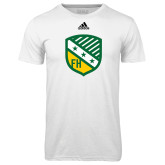 Adidas Climalite White Ultimate Performance Tee-Shield