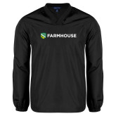 V Neck Black Raglan Windshirt-Farmhouse Shield