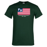 Dark Green T Shirt-American Flag