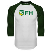 White/Dark Green Raglan Baseball T Shirt-FH Shield