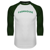 White/Dark Green Raglan Baseball T Shirt-Arched Farmhouse
