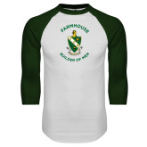White/Dark Green Raglan Baseball T Shirt-Crest w Tagline