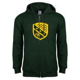 Dark Green Fleece Full Zip Hoodie-Shield