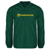 V Neck Dark Green Raglan Windshirt-Farmhouse Shield