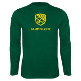 Performance Dark Green Longsleeve Shirt-Alumni Design