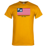 Gold T Shirt-American Flag