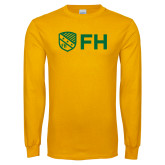 Gold Long Sleeve T Shirt-FH Shield
