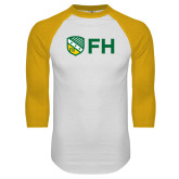 White/Gold Raglan Baseball T Shirt-FH Shield