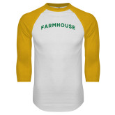 White/Gold Raglan Baseball T Shirt-Arched Farmhouse
