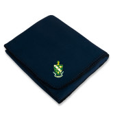 Navy Arctic Fleece Blanket-Crest