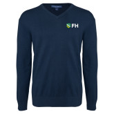 Classic Mens V Neck Navy Sweater-FH Shield