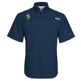 Columbia Tamiami Performance Navy Short Sleeve Shirt-Crest