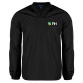 V Neck Black Raglan Windshirt-FH Shield
