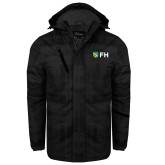 Black Brushstroke Print Insulated Jacket-FH Shield