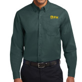 Dark Green Twill Button Down Long Sleeve-FH Shield