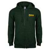 Dark Green Fleece Full Zip Hoodie-FH Shield