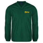 V Neck Dark Green Raglan Windshirt-FH Shield