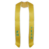 2018 Gold Graduation Stole w/White Trim-Tackle Twill Stacked