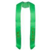 2018 Green Graduation Stole w/White Trim-Tackle Twill Stacked