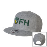 Heather Grey Wool Blend Flat Bill Snapback Hat-FH Shield