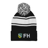 Black/White Two Tone Knit Pom Beanie w/Cuff-FH Shield