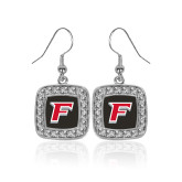 Crystal Studded Square Pendant Silver Dangle Earrings-F