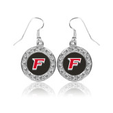 Crystal Studded Round Pendant Silver Dangle Earrings-F