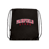 Nylon Black Drawstring Backpack-Fairfield Stags Stacked