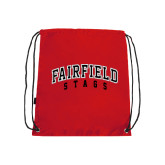 Nylon Red Drawstring Backpack-Fairfield Stags Stacked