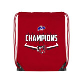 Nylon Red Drawstring Backpack-2017 MAAC Softball Champions - Plate