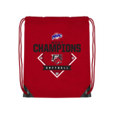 Nylon Red Drawstring Backpack-2017 MAAC Softball Champions - Diamond