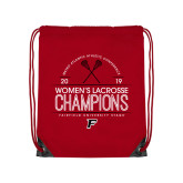 Red Drawstring Backpack-2019 Womens Lacrosse Champions