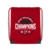 Red Drawstring Backpack-2019 Volleyball Champions