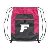 Nylon Pink Raspberry/Deep Smoke Pocket Drawstring Backpack-F