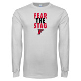 White Long Sleeve T Shirt-Fear the Stag Distressed
